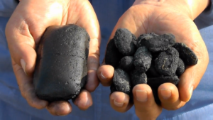 Iron Briquettes being made from EAF dust, after extracting Zinc